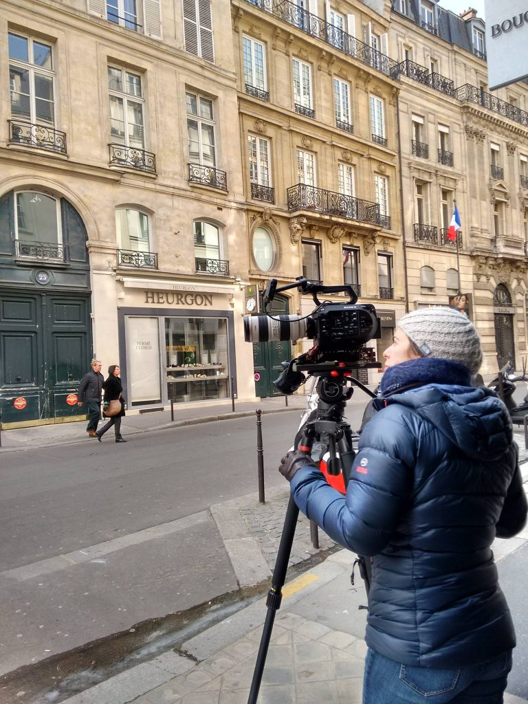 Filming on the streets of Paris