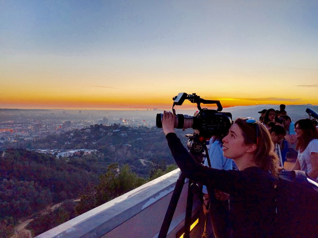 Filming at the Griffith Observatory, Los Angeles, USA