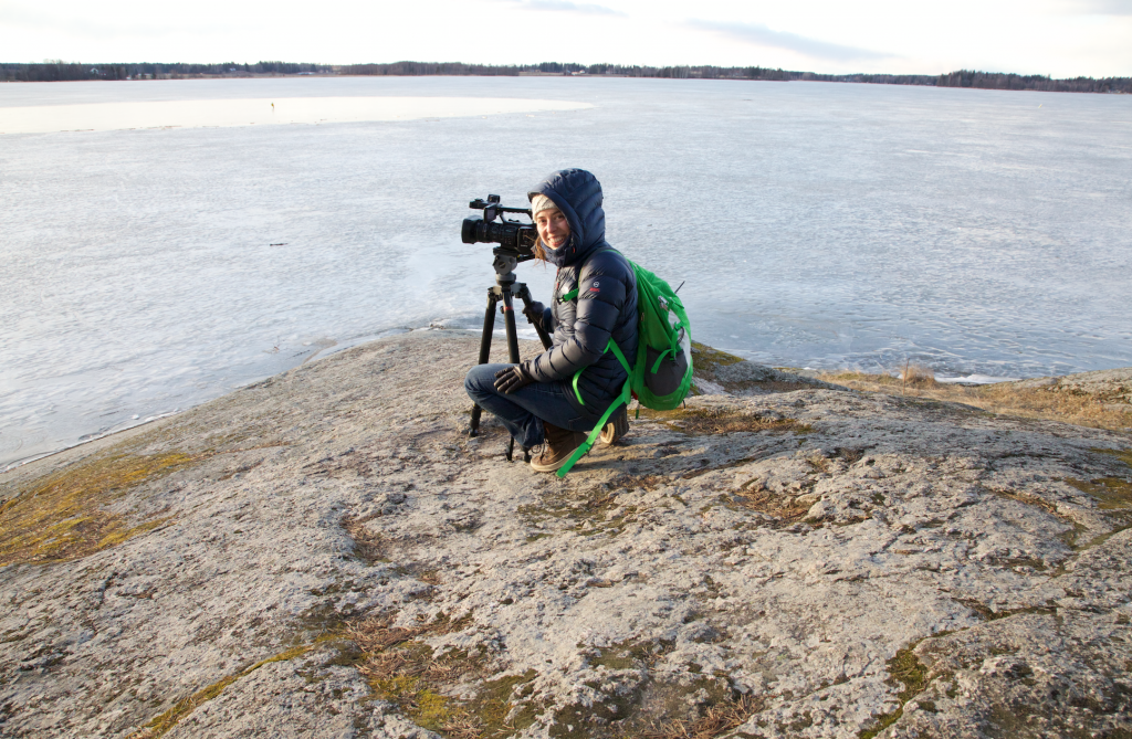 Filming on Lake Tuusula, Finland
